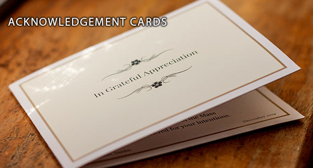 Photo of a folded acknowledgement card