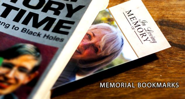 Photo of a memorial bookmark in a book