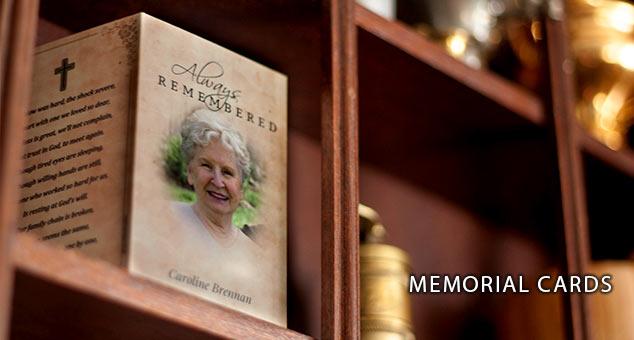 Photo of a memorial card