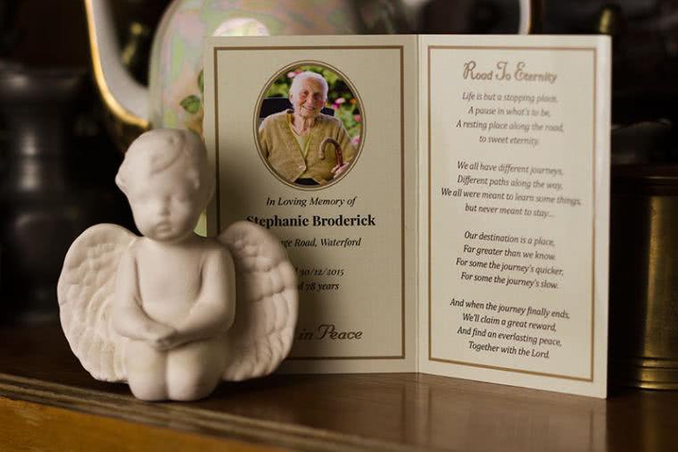 Inside of memorial card