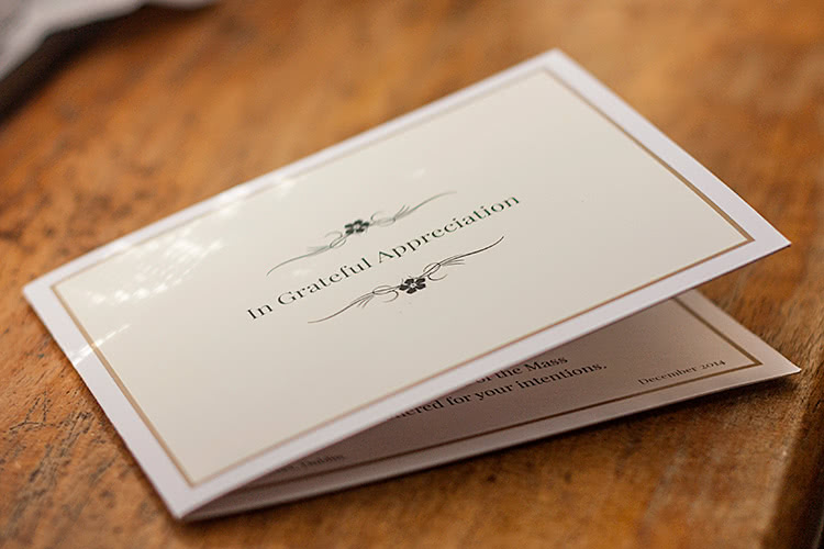 4-page folding acknowledgement card