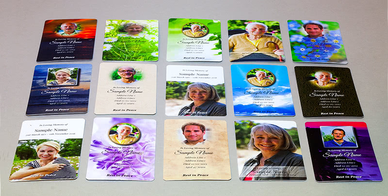 Some of our Wallet Memorial Cards designs.