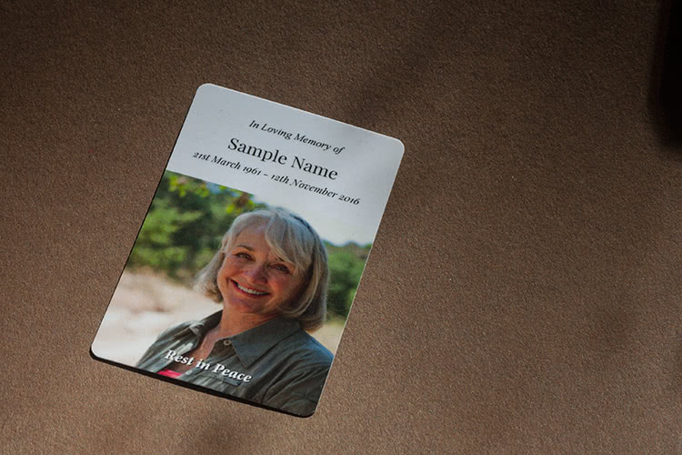 Wallet memorial card - small but labour intensive product.