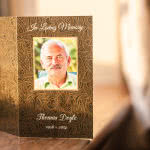 Card with Celtic pattern background and photo on the front