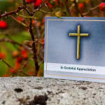 Acknowledgement card with golden cross
