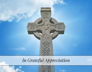 ACF12 - folding acknowledgement card with Celtic cross - Front